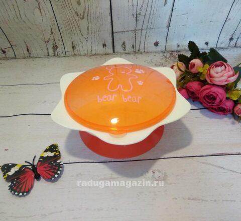 Тарелка непроливайка с крышкой на присоске Оранжевая