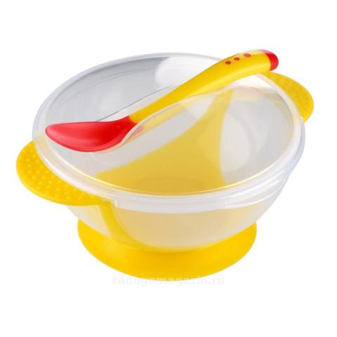 Набор термо тарелка непроливайка и ложка, Желтый