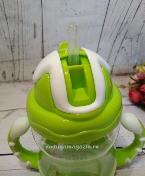 Поильник с силиконовой трубочкой 320мл, зеленый