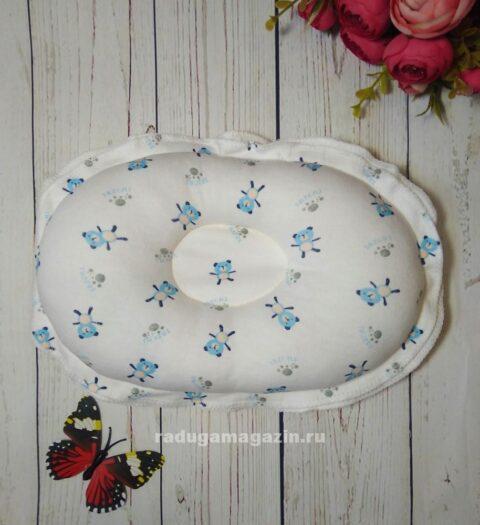 Подушка для новорожденного ортопедическая, Медведи голубые