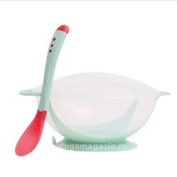 Набор термо тарелка непроливайка и ложка, Зеленый