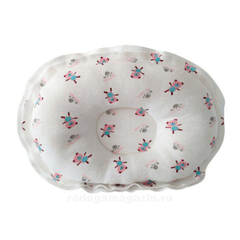 Подушка для новорожденного ортопедическая, Медведи розовые