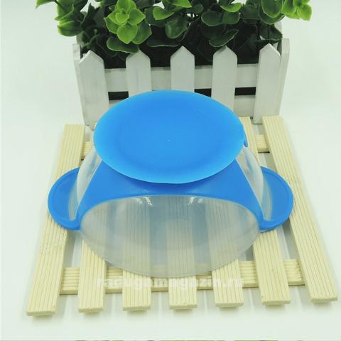 Набор термо тарелка непроливайка и ложка, Голубой