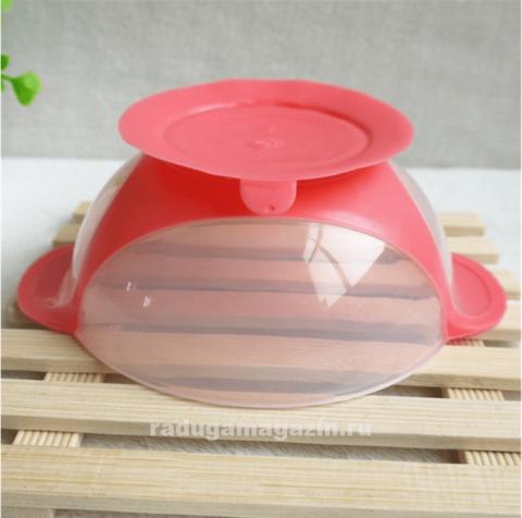 Набор термо тарелка непроливайка и ложка, Малиновый