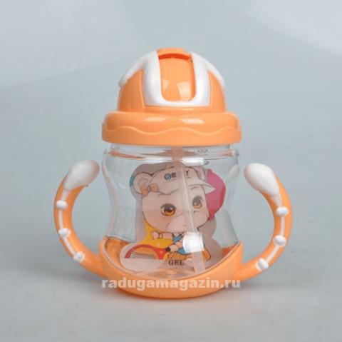 Поильник с силиконовой трубочкой 320мл, оранжевый