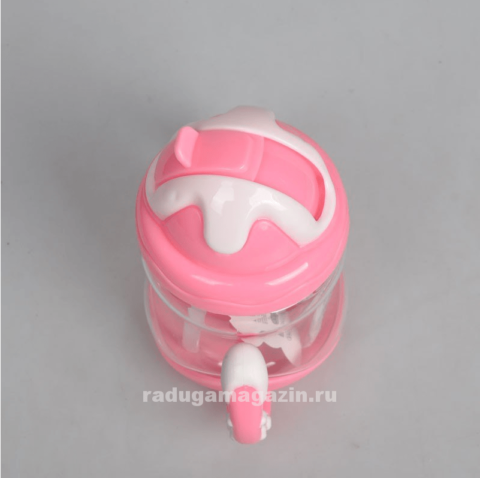 Поильник с силиконовой трубочкой 320мл, розовый